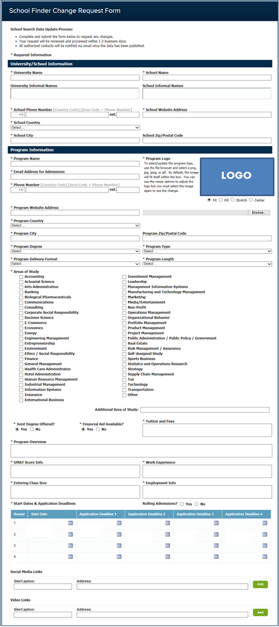 School Search Sample Form