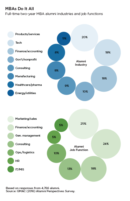 Full-time two-year MBA alumni industries and job functions
