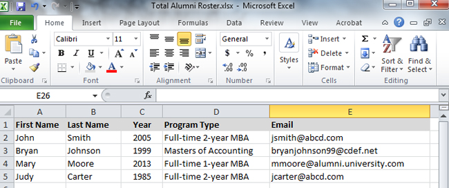 2013 Alumni Roster Excel File Example
