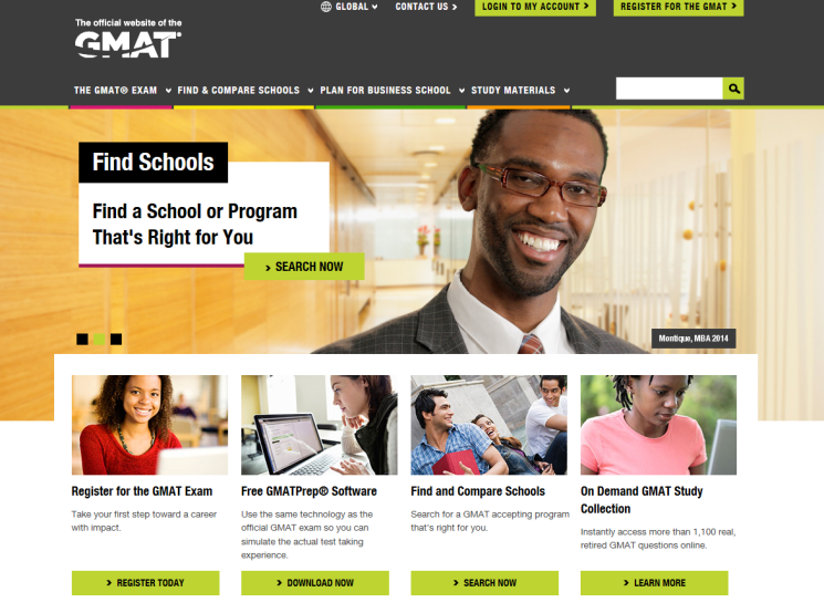 mba.com screen shot to highlight new look